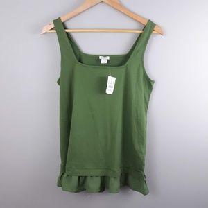 J.Crew Army Green Tank Top NWT Square Neck Small